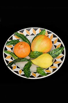 French Antique Plate with Trompe L'Oeil Fruits by Christine Viennet