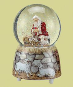 Kneeling Santa Glitter Dome