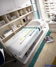 H401 Det 01 ¿Estanterías y una cama donde había un escritorio?... Todo es posible en el nuevo #Mundojoven de #Rimobel