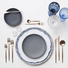 Blue Fleur de Lis Chargers + Signature Collection China & Heath Ceramics in Indigo/Slate + Rose Gold Flatware + Vintage Dark Blue/Light Blue/Champagne Coupe Trios + Antique Crystal Salt Cellars | Casa de Perrin Design Presentation