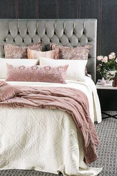 Hoshi bedspread with Petipa lavender quartz comforter, rabat lavender quartz cushion, Maghrib cushion and riad sunset eurocases Linen Headboard, Wingback Headboard, Bed Linen Design, Bed Design, Pink Bedding, Comforter, Small Cushions, European Pillows, Moroccan Design