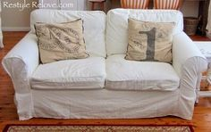 Restyle Relove: How To Restuff Ikea Ektorp Sofa Cushions Cheap, Easy and Quick Sofa Back Cushions, White Cushions, Living Room Sofa, Living Room Decor, White Cushion Covers, Cushion Inserts, Ektorp Sofa, Ikea Couch, Comfortable Office Chair