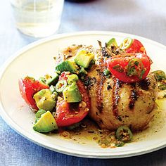 Grilled Cilantro Chicken with Pickled Tomato and Avocado Salsa, courtesy of @Sunset Magazine