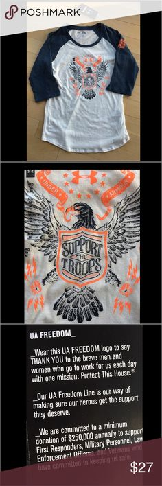 """NWT Under Arrmour Base Ball T. FREEDOM! FREEDOM BASE BALL T by Under Armour. """"Support our Troops."""" Great colors, cool t shirt. NWT - no low balls please! Under Armour Tops Tees - Long Sleeve"""