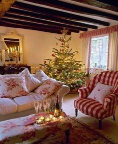 WHITE BEADBOARD CEILING WITH WOOD BEAMS IN NEW LIVING ROOM                Cabbages and Roses look Christmas