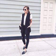 Vest elevates simple look Office Fashion, Work Fashion, Office Outfits, Casual Outfits, Black Outfits, Work Outfits, Long Black Vest, Corporate Wear, Ootd