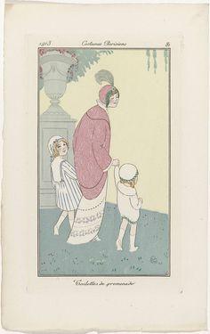 Journal des Dames et des Modes, Costumes Parisiens, 1913, No. 81 : Toilettes de promenade, anonymous, 1913 Art Deco Fashion, Fashion Prints, Kids Fashion, Art Deco Illustration, Woman Illustration, French Fashion, Vintage Fashion, Mode Costume, Art Deco Posters