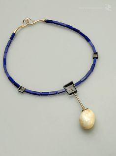 Necklace - amber, gold, lapis lazuli, silver - Pawel Kaczynski 2015