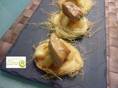 Los Postres de Elena: Nidos de kataifi con manzana caramelizada y foie Deserts, Recipes, Nests, Stir Fry