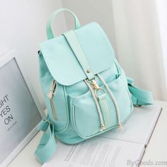Lovely Mint Green Canvas Schoolbag Sweet Student Buckle Solid Backpack