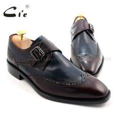cie Square Toe W-tips Single Monk Straps Deep Wine/Navy 100% Genuine Calf Leather Bottom Breathable Men Flats Shoe Dress MS33 #Affiliate