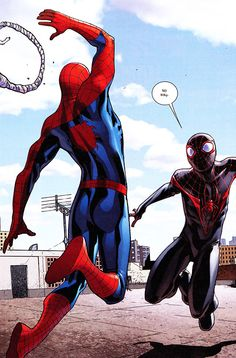 Peter Meets Miles in SPIDER-MEN #5 (Nov. 2012) - Sara Pichelli & Justin Ponsor, Words by Brian Michael Bendis
