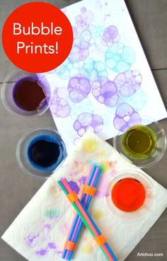 Make some bubble prints! Fun kids craft for summer