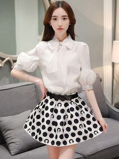 Bowknot Puff Sleeve Top+Dot Short Skirt