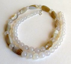 Agate Necklace Beige and Soft White Stones and by Smokeylady54