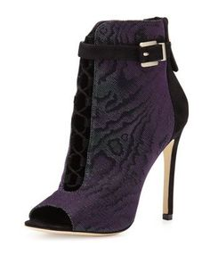 Lindford Peep-Toe Bootie, Purple/Green by B Brian Atwood at Neiman Marcus.