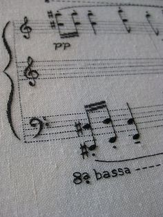 Embroidered piece of music for piano by Louise Peribert.