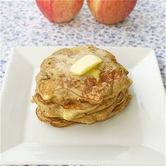Coconut Flour Apple Pancakes    3 eggs  3 tablespoons butter  1/4 cup milk (dairy, almond, coconut)  1 teaspoon honey or maple syrup (Grade B is best)  1/2 teaspoon sea salt  1 teaspoon cinnamon  3 tablespoons coconut flour  1 medium apple    http://thischickcooks.net/2012/10/11/coconut-flour-apple-pancakes/