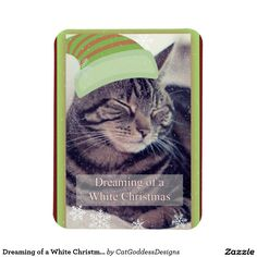 Dreaming of a White Christmas Cat Rectangular Photo Magnet Cat Christmas Cards, White Christmas, Merry Christmas, Photo Magnets, Store Design, Photo Cards, First Love, Greeting Cards, Kitty