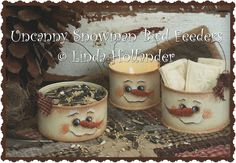 E-Pattern Uncanny Snowman Bird Feeders by Linda by artfulfriends