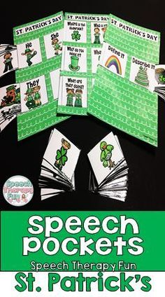 Address pronouns, prepositions, wh questions, describing, definitions, action verbs, sentences and more with these interactive and fun speech pockets for St. Patrick's Day!