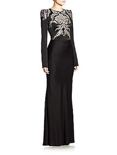 Alexander McQueen Embellished Satin Gown