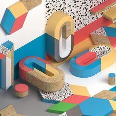 Geometric colors on Behance 3d Figures, School Displays, Memphis Design, 3d Typography, 3d Artwork, Creative Play, Colorful Furniture, Cinema 4d, Motion Design
