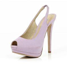River Island Light Purple Peep Toe Slingback Court Shoes