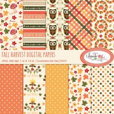 Fall digital papers for commercial use, just uploaded them to my Etsy ❤️ Fall Owl, Fall Patterns, Welcome Fall, Cute Pumpkin, Hello Autumn, Fall Wreaths, Fall Harvest, Autumn Inspiration, Autumn Leaves