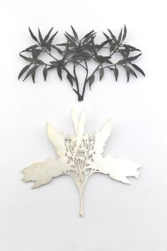 brooches in blackened silver and sterling silver, 2011, Marian Hosking - Gallery Funaki