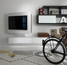 Lacquered adjustable wall-mounted TV cabinet RACK FREE by Fimar Tv Wall Design, Tv Unit Design, Bed Design, Modern Tv Wall, Modern Tv Units, Modern Living, Tv Furniture, Italian Furniture, Montage Tv