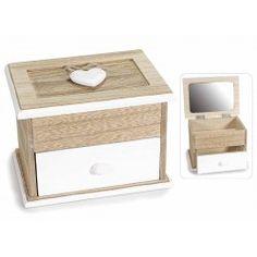 Cofanetto scatola portagioie specchio legno shabby gioielli
