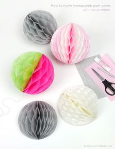 "You think you know how to make pom poms? These will beat your crafty ass until you cry for mercy! -K ""DIY How to make honeycomb pom-poms from tissue paper"" Fun Crafts, Diy And Crafts, Crafts For Kids, Arts And Crafts, Diy Party Decorations, Paper Decorations, Birthday Decorations, Diy Décoration, Easy Diy"