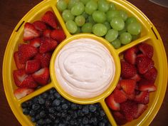 My famous Strawberry Fruit Dip! 3 ingredients: 1 8 oz strawberry yogurt, 1 8 oz strawberry cream cheese and 1/2 a 7 oz jar marshmallow fluff...chill and serve with fruit
