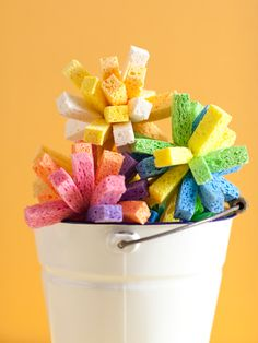 cut up sponges and tie them together......dunk in water bucket and let kids throw around