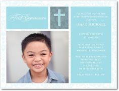First Communion Postcards Faithful Damask - Front : Spa