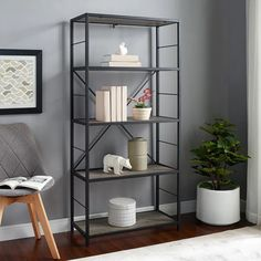 Shop Carbon Loft Ora Grey Wash Industrial Mixed Material Bookshelf - Overstock - 21214354 Bookshelves, Bookcase, Open Shelving Units, Industrial Bookshelf, Grey Wash, Do It Yourself Home, Clean Design, Rustic Style, Home Accents