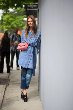 New York Spring 2015 Street Style - Street Style - Harper's BAZAAR... Backward wrap mind you....left over right for those that are alive