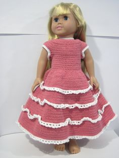free pattern; crochet; ruffle dress; 18 inch doll