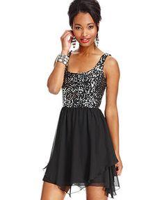 Speechless Juniors Dress, Sleeveless Sequin Chiffon - Juniors Dresses - Macy's
