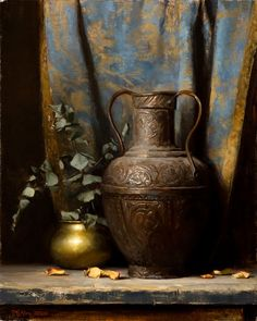 Matthew Almy - Brass Pots and Eucalyptus Still Life Drawing, Still Life Oil Painting, Types Of Painting, Still Life Art, Light Painting, Still Life Photography, Creative Photography, Florence Academy Of Art, Still Life Photos