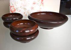 Mid Century, Mahogany Salad Set, Large Bowl and 4 Small Serving Bowls From Haiti