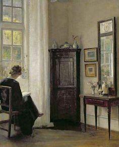 Interior with Woman Reading ~ Carl Vilhelm Holsøe ~ (Danish: 1863-1935)