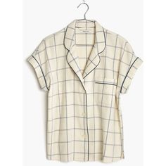MADEWELL Flannel Bedtime Pajama Top in Windowpane ($30) ❤ liked on Polyvore featuring sun plaid antique cream and madewell