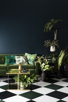 Rhythmic Palms explores new beginnings and escapism. The palette combines lush greens, dark charcoals and off-white tones. Oversized and exaggerated patterns and rich colours encapsulate a jungle feel. Haymes Paint 2015 Colour Forecast