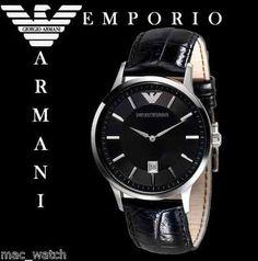 EMPORIO ARMANI Herren Uhr AR2411 Herrenuhr Schwarz Leder ORIGINAL NEU