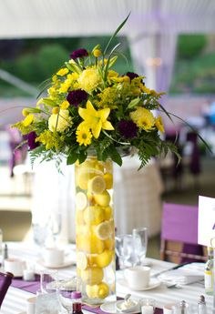 Lemons in tall cylinder vase with yellow flowers. Beautiful. Wedding Centerpieces Vase Centerpieces & 45 Best Floral Arrangements with Fruit \u0026 Vegetables images in 2016 ...