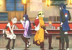 Ichiraku Ramen shop, Sakura, Hinata, Naruto and Sasuke. Preeeetty sure Hinata has a ring on her finger!