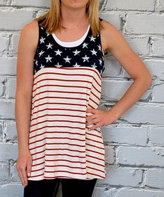 Another great find on #zulily! Red & White Stripe Long Tank by Olivia & Jane #zulilyfinds