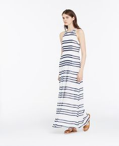 Image of Striped Halter Maxi Dress